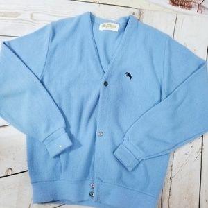 Vintage 80's pale blue grandpa mr. Rogers sweater